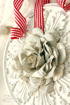 paper rose wreath - made from old book pages