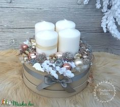 Adventbox - karácsonyi asztaldísz (madarkamuhely) - Meska.hu Christmas Food Gifts, Christmas Wreaths, Christmas Decorations, Advent, Home Decor, Decoration Home, Room Decor, Christmas Decor, Ornaments