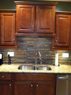 stacked slate backsplash tile - google search | houses | pinterest
