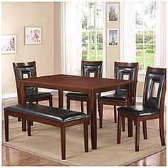 "Dining Set, 6-Piece  $399.99      The perfect dining table for entertaining or a quiet meal at home     Chairs include faux-leather padded seat and back with cutout decorative design     6-piece set includes 4 chairs, a padded bench, and a table all in one box     Assembly required  60""W x 353/8""D x 30""H SKU(s): 810111913"