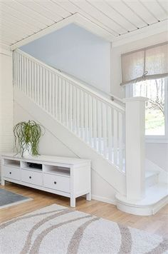 Staircase in foyer entryway that deals with and brings a window in Entryway Bench, Foyer, House Stairs, Attic Rooms, Stairway To Heaven, Stairways, Loft, Living Room, Inspiration