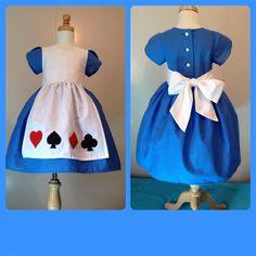 Alice in Wonderland party dress girls custom made princess costume size 2 3 4