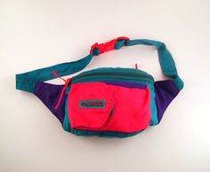 Fanny Pack Neon Vintage 1980s Nylon Vegan by purevintageclothing