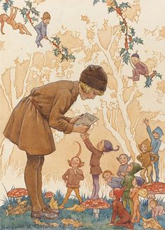 """Margaret W. Tarrant (1888-1959) - """"The Brownie's Christmas Card"""" 