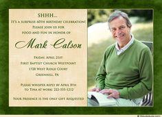 Surprise+Birthday+Party+Invitations | Elegant Surprise Photo Birthday Invitation - Golf 50th Party Sepia ...