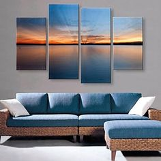 Stretched Canvas Art The Quiet Lake Under the Sunlight Landscape Set of 4 – AUD $ 128.69