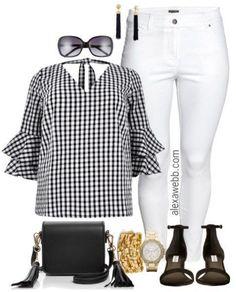 Plus Size Gingham Top Outfit - Plus Size Summer Outfit - Plus Size White Jeans - Plus Size Fashion for Women - alexawebb.com