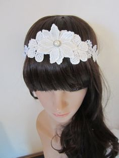 White Lace  flower  and rhinestone1920s flapper by PeacockandLotus, $35.00