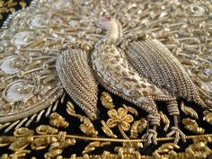 goldwork bird Local fashion: Zardozi - the ancient art of metal embroidery Zardozi Embroidery, Tambour Embroidery, Couture Embroidery, Indian Embroidery, Gold Embroidery, Embroidery Fashion, Embroidery Stitches, Embroidery Blouses, Crazy Quilting