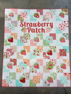 Nothing says summer like the sweet smell of strawberries! And this sweet little quilt is the perfect addition to your summer home decor. This is a PDF Pattern and instructions to create a 43 x 54 yummy quilt.  Designed by Amanda Niederhauser & Tina Egner..... JUST FOR YOU!  Basic quilting and applique skills required.