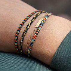 My favourite fall colours! Beaded Braclets, Bead Loom Bracelets, Woven Bracelets, Handmade Bracelets, Handmade Jewelry, Dainty Jewelry, Boho Jewelry, Beaded Jewelry, Loom Bracelet Patterns