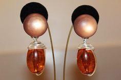 Massive Vintage Amber Lucite Crackle Modernist by MyJewelsBoutique