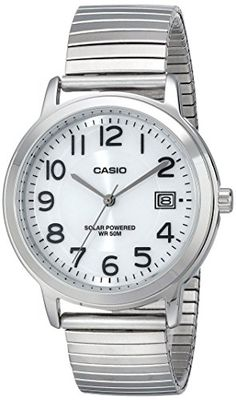 Casio Men's MTP-S100E-7BVCF Easy-To-Read Solar Stainless Steel Watch #deals
