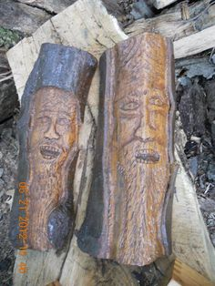 tree spirits made from logs