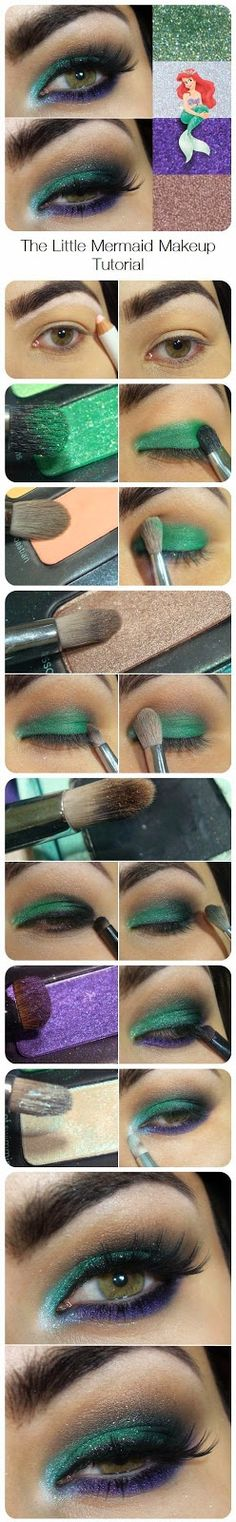The Little Mermaid Makeup Tutorial. want to wear this to the little mermaid on broadway! Makeup You Need, Love Makeup, Makeup Tips, Beauty Makeup, Makeup Looks, Makeup Ideas, Crazy Makeup, Makeup Art, 80s Makeup