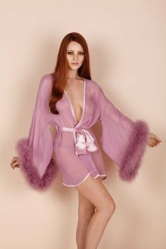 Sheer chiffon Kimono with marabou trimmed sleeves, wear with the pom-pom thong and Diana babydoll to amp up the volume. All of our lingerie and nightwear is made with love by hand in the UK. Retro Lingerie, Bridal Lingerie, Luxury Lingerie, Lingerie Models, Sexy Lingerie, Luxury Nightwear, Chiffon Kimono, Sheer Chiffon, Golden Age Of Hollywood