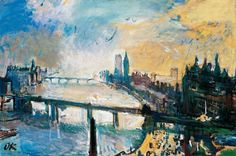 Oskar Kokoschka (1886–1980) London, kleine Themse-Landschaft, 1926