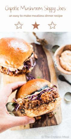 Spicy Chipotle Mushroom Sloppy Joes for the win! This is the ultimate comfort food makeover. I've turned traditional Joes into a healthy and Meatless Monday dinner recipe. Your whole family will LOVE these! Vegetarian + vegan + gluten-free. | theendlessmeal.com | #sloppyjoes #vegan