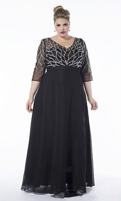 plus size black chiffon mother of the bridal dress 2016 half sleeve beaded elegant women formal evening gown for wedding party