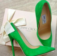 Jimmy Choo green shoes.