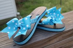 Ribbon Trimmed Flip Flop Sandles with Bow You by ThreePrincessBows, $15.00
