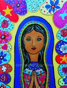 Mexican Folk Art Our Lady of  Virgin Guadalupe by prisarts on Etsy, $125.00