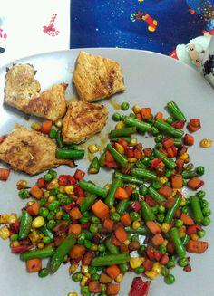 Pork steak + vegetables.