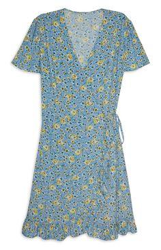 Primark - Light Blue Floral Wrap Tea Dress