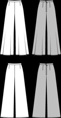 NR. 6966-V.  Hose – Schlaghose – Vintage.   Schlaghosen im Stil der 70er, um Taille und Hüfte schmal gehalten, mit rückwärtigem Reißverschluss. Die Hosenbeine wahlweise mit üppiger Weite bei Modell A oder gemäßigter Weite bei Modell B.