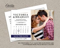 Photo Save The Date Postcard With Calendar By iDesignStationery On Etsy