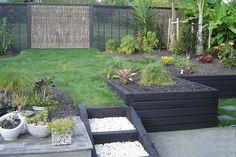 Garden Seating, Garden Table, Garden Beds, Railway Sleepers Garden, Outdoor Privacy, Inside Plants, Black Garden, Family Garden, Contemporary Garden
