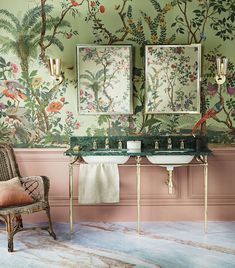 Bathroom Decor green 34 Stunning Bathroom Decoration Ideas Trends 2020 - Bathroom remodeling is a popular home improvement project that many homeowners undertake because the elements of bathroom design are so varied that it. Bathroom Trends, Bathroom Interior, Bathroom Remodeling, Bathroom Inspo, Bathroom Shelves, Small Bathroom, Bathroom Sinks, Wallpaper Decor, Zuber Wallpaper