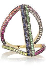 Noor FaresRhombus 18-karat rhodium-plated gold multi-stone ring