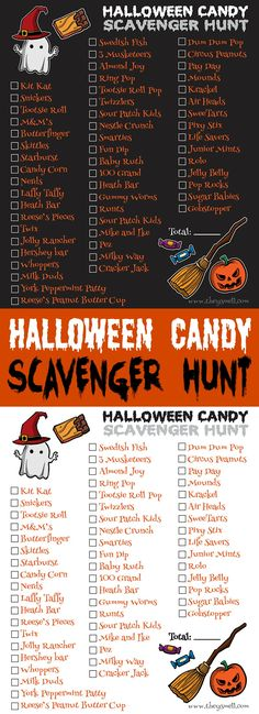 Halloween Candy Scavenger Hunt Printable - take your Trick-Or-Treating fun to the next level with a scavenger hunt! They check off the boxes for each candy they collected and the kid with the most boxes checked is the winner!