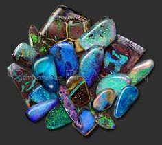 Boulder opal is found in Australia where precious opal forms in veins and patches within brown ironstone boulders. When the opal is mixed through the ironstone it is called matrix opal. Hardness ranges between 5.5 and 6 on the Mohs scale.