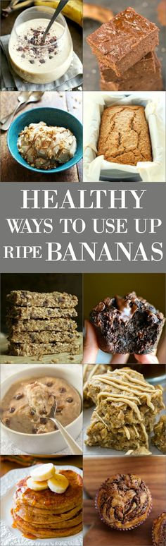 Healthy Ways to Use Up Ripe Bananas - Don't know what to do with all of those ripe bananas? Or just looking for some crazy good banana recipes? We've got ya covered! Check out our list of delicious recipes! Healthy Banana Recipes, Healthy Sweets, Fruit Recipes, Healthy Baking, Sweet Recipes, Dessert Recipes, Cooking Recipes, Healthy Desserts With Bananas, Recipes With Bananas Healthy