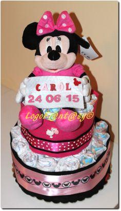 Minnie Mouse diaper cake - torta di pannolini con Minnie - idea regalo nascita personalizzato