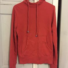 Mens coral high neck hoodie Mens size xs coral hoodie with high neck. The material is sooo soft. Wish it still fit me 😕 Poshmark takes out 20% so I'm not receiving my asking price Sweaters