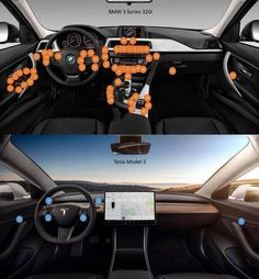 The difference between BMW's and Tesla's user interface. In the future, having more buttons won't provide the premium feeling. Clean, easy-to-use design will. On the other hand, Tesla will have to do. Tesla S, Tesla Motors, Bmw S, Self Driving, Sexy Cars, User Experience, Electric Cars, Concept Cars, Trucks
