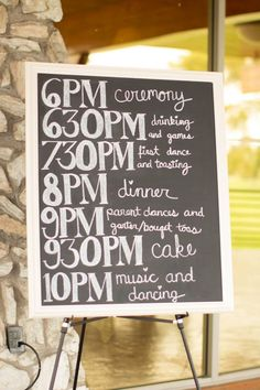 A great sign of the wedding day lineup! {Jenna Ebert Photography}