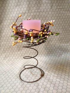Spring inspired coiled candle holder, bed spring, Easter decor, candle holder, spiral hold... $12.50