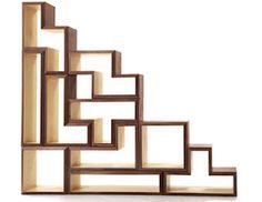 funky shaped shelf as room divider