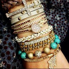 lOVE layered bracelets