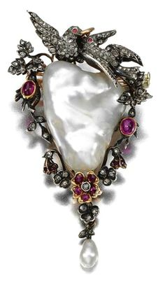 PEARL, RUBY AND DIAMOND BROOCH/ PENDANT, LATE 19TH CENTURY Centring on a baroque pearl, framed by a floral and foliate garland surmounted by a pair of doves, set with cabochon and circular-cut rubies and rose-cut diamonds, suspending a pearl drop, detachable brooch fitting, hinged bail.