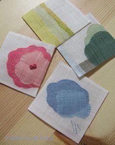 모시로 제가 좋아하는 풍경들을 이 작은 공간속에 담아봤습니다. 수를 놓아도 예쁘겠지만 ^^ 바탕 흰색은 ... Flower Embroidery Designs, Embroidery Art, Korean Crafts, Fabric Postcards, Patch Quilt, Quilt Patterns Free, Fabric Art, Machine Quilting, Diy And Crafts