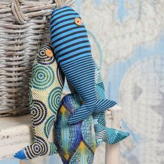Stuffed fabric fish make great comfy toys for the kids and are fun to make.