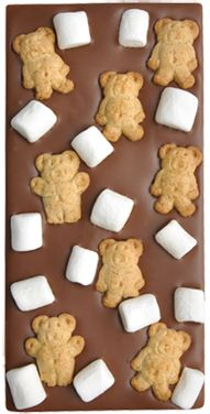 Milk Chocolate Bar with Mini Marshmallows and Teddy Grahams.