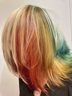 Our stylist Cecilia is somewhere under this beautifully crafted rainbow magic using all 11 colors of Aveda Vibrants! Awesome job by our stylist in training Larisa! Aveda Spa, Aveda Salon, Aveda Hair Color, Rainbow Magic, Salon Services, Body Wraps, Spa Gifts, Manicure And Pedicure, Eyelash Extensions