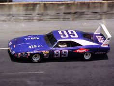 1969 Dodge Charger Daytona NASCAR Race Car at Speed Driven by Charlie Glotzbach Plum Crazy