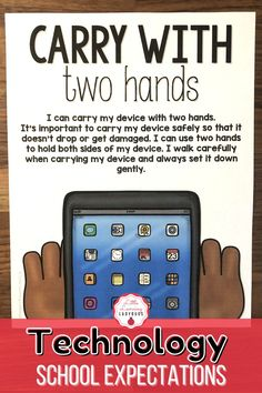 Teach your students the rules and expectations for using technology during distance learning. With expectation stories, visuals, and coloring pages students will learn how to care for their devices while doing remote learning. Teach students to carry their device with two hands, charge their device, limit their screen time, using a respecful volume, and more. #distancelearning #schoolrules #elementaryschool Classroom Expectations, Positive Behavior, Help Teaching, Up And Running, Classroom Management, Elementary Schools, Distance, No Response, Remote